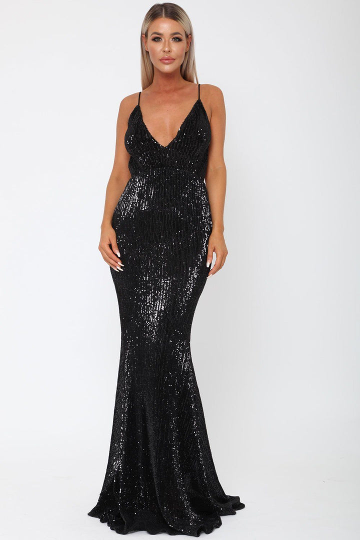 Khan Long Gown in Black