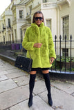 Lola Faux Fur Jacket in Lime