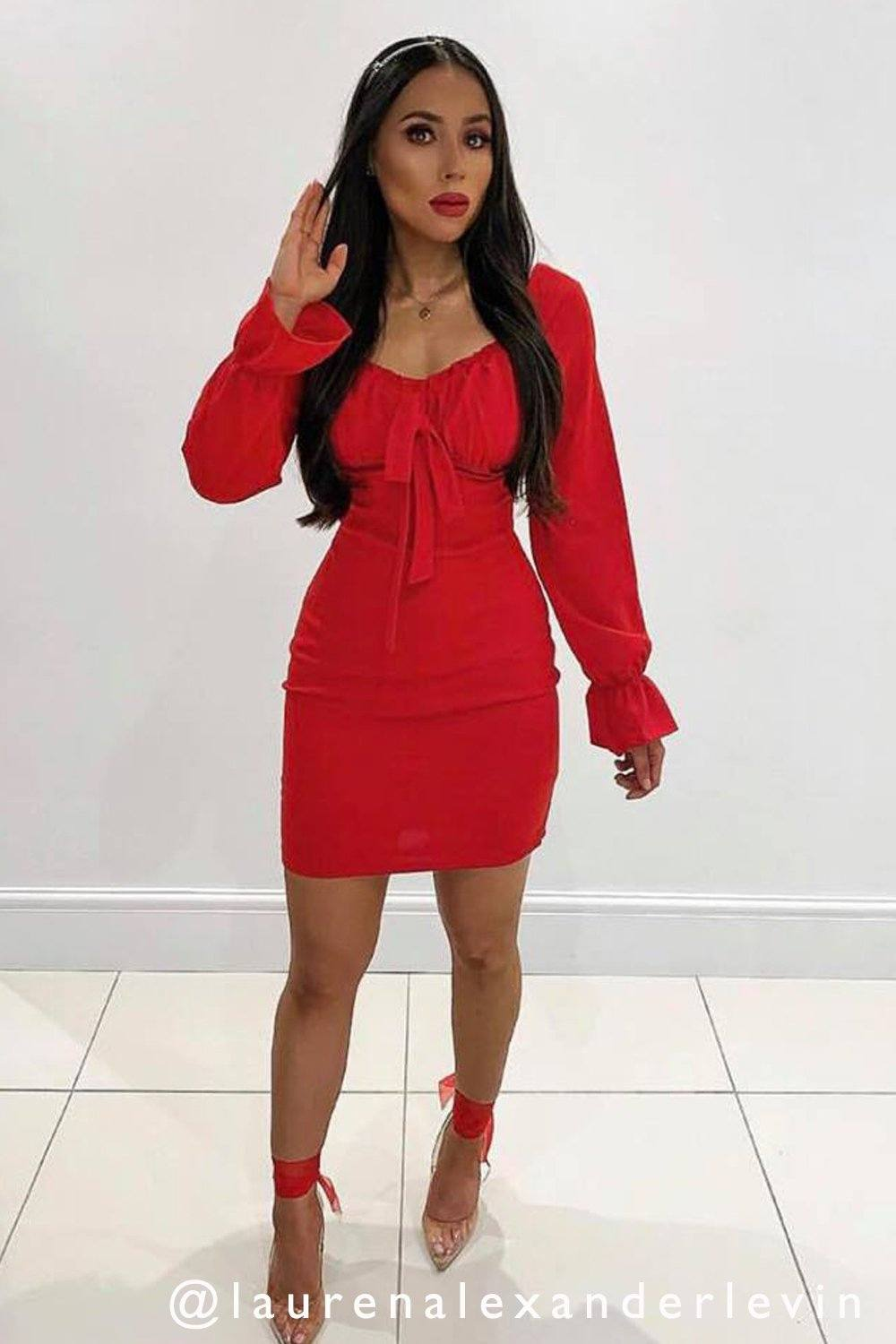 a7ad53367112 Lois Ruffle Sleeve Bow Dress in Red 20% off