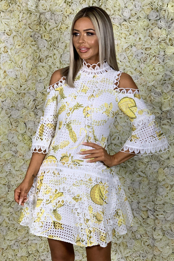 Lula Yellow and White Dropped Shoulder Dress