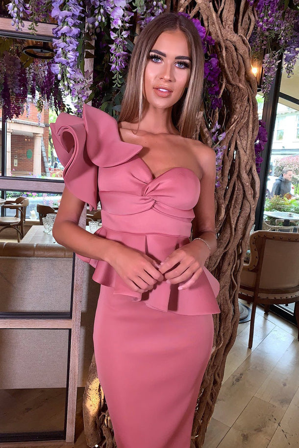 Michelle Bardot Midi Two-Piece in Mauve