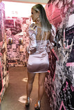 Nadia Satin Mini Dress in Blush