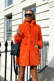 Lola Faux Fur Jacket in Orange