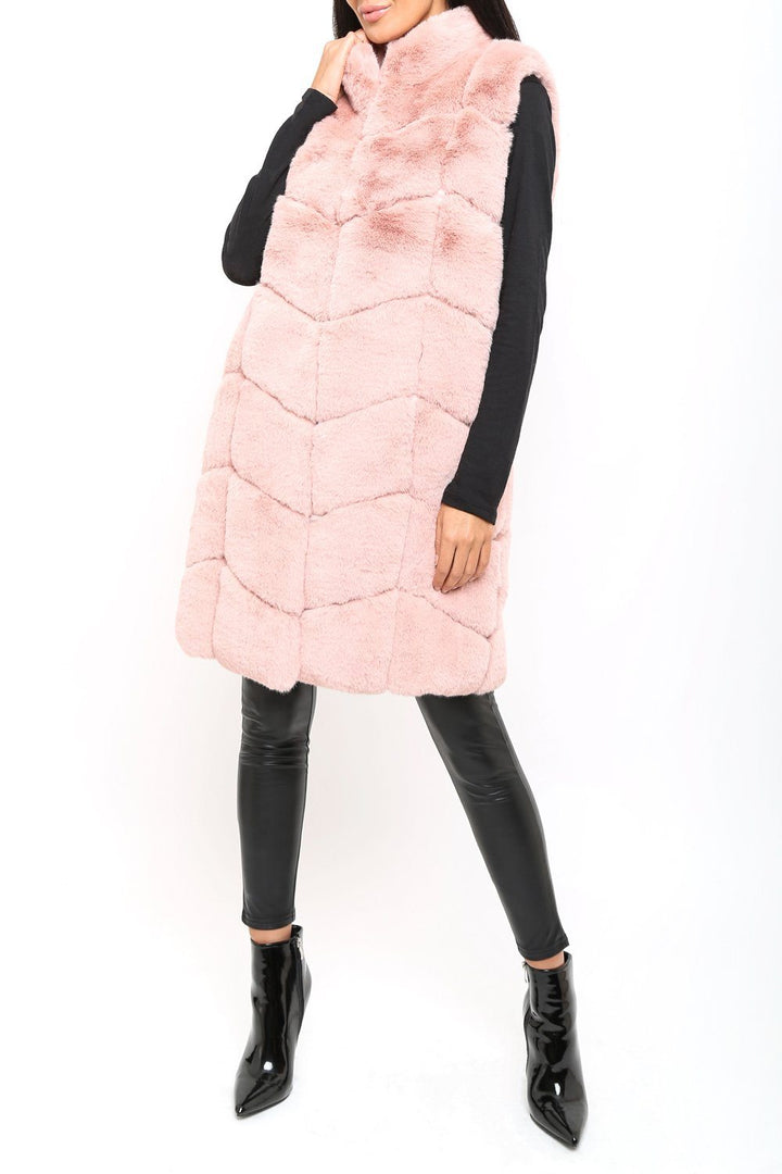 Chrissie Faux Fur Long Gilet in Pink