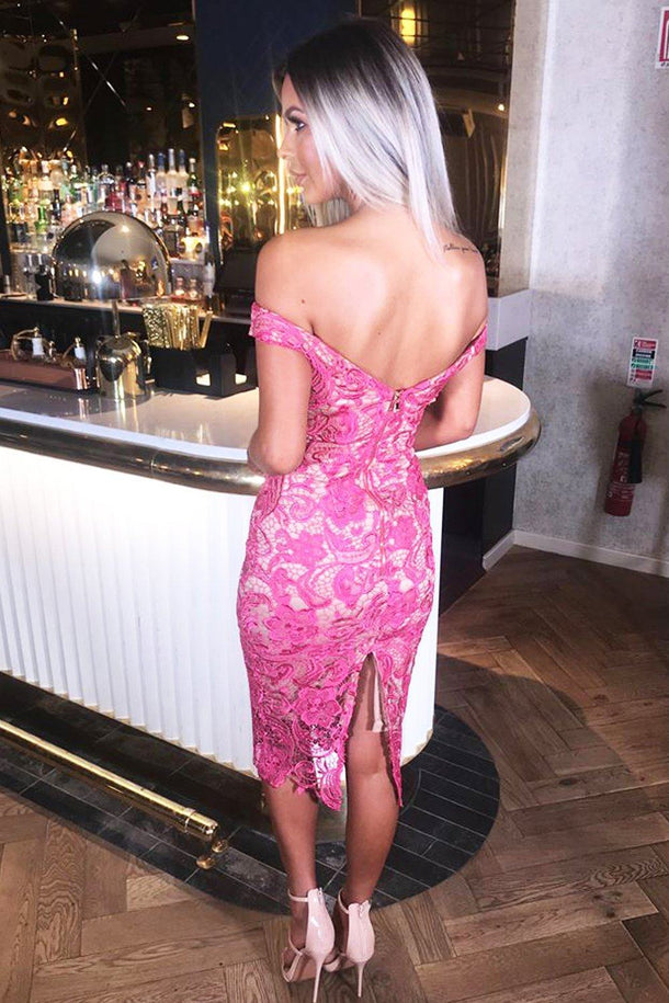 Harlem Lace Midi Dress in Pink