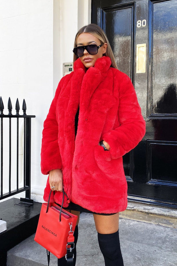 Lola Faux Fur Jacket in  Red