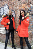 Red long Faux Fur Trim Parka
