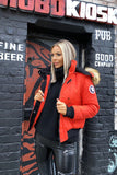Cropped Faux Fur Trim Parka in Red