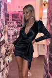 Roxanne Satin Mini Dress in Black