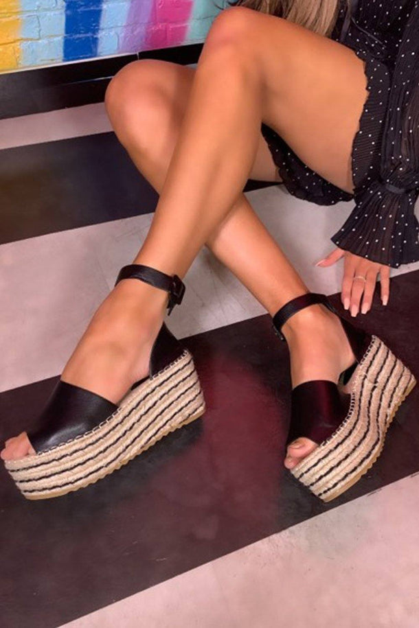 Sara Espadrille Wedge in Black