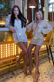 Sarah Sequin Dress in Champagne