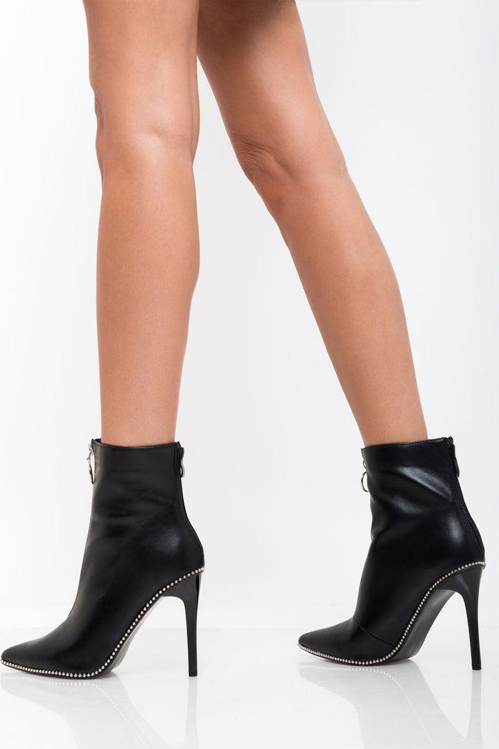 Emma Faux Leather Boots in Black