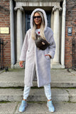Sophie Hooded Teddy Coat in Grey