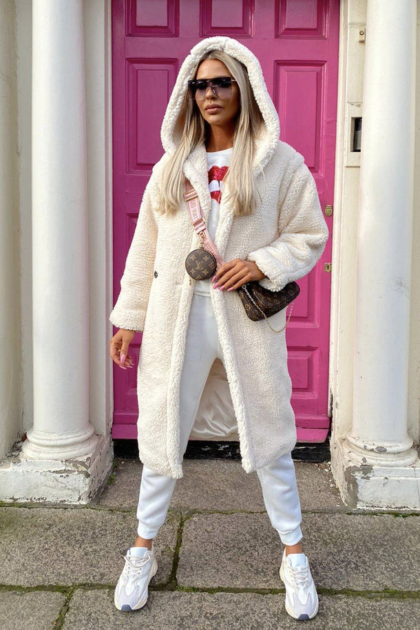 Sophie Hooded Teddy Coat in Ivory