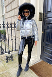 Molly Metallic Parka in Silver Size