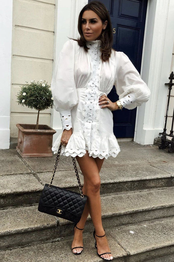 Florence White Lace Detailed Mini Dress in White