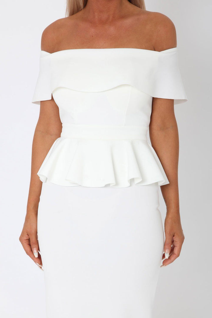 Tamara Peplum Dress in Ivory