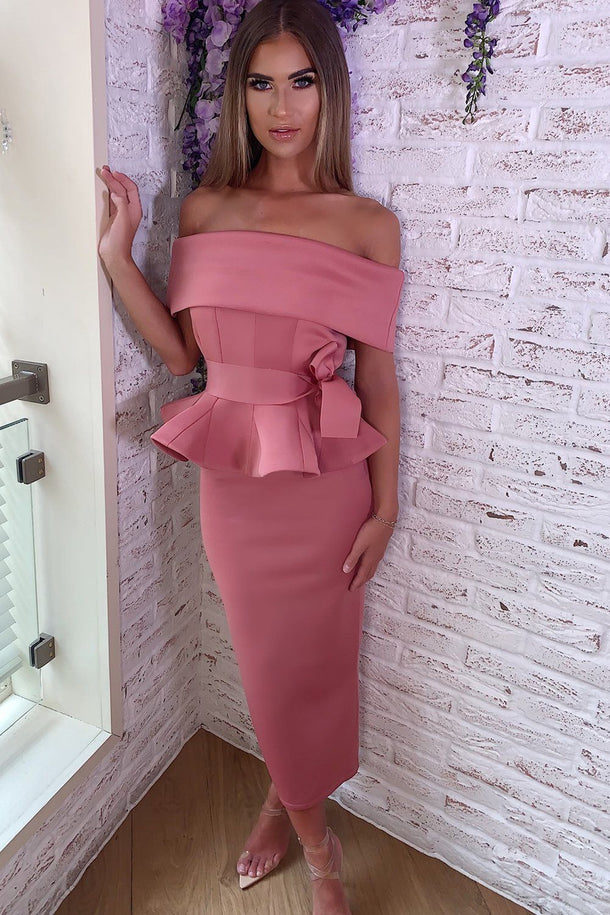 Tammy Bardot Midi Two-Piece in Mauve
