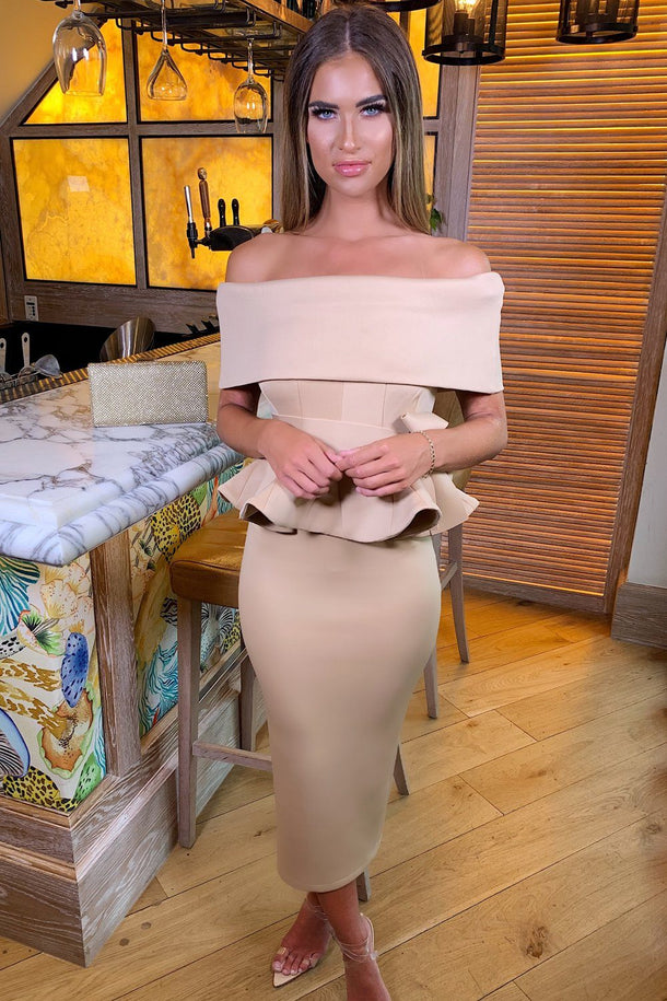 Tammy Bardot Midi Two-Piece in Nude
