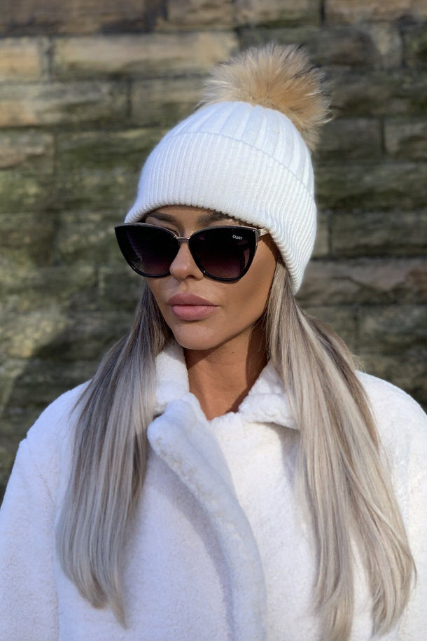 Maddy Fur Bobble Hat in White