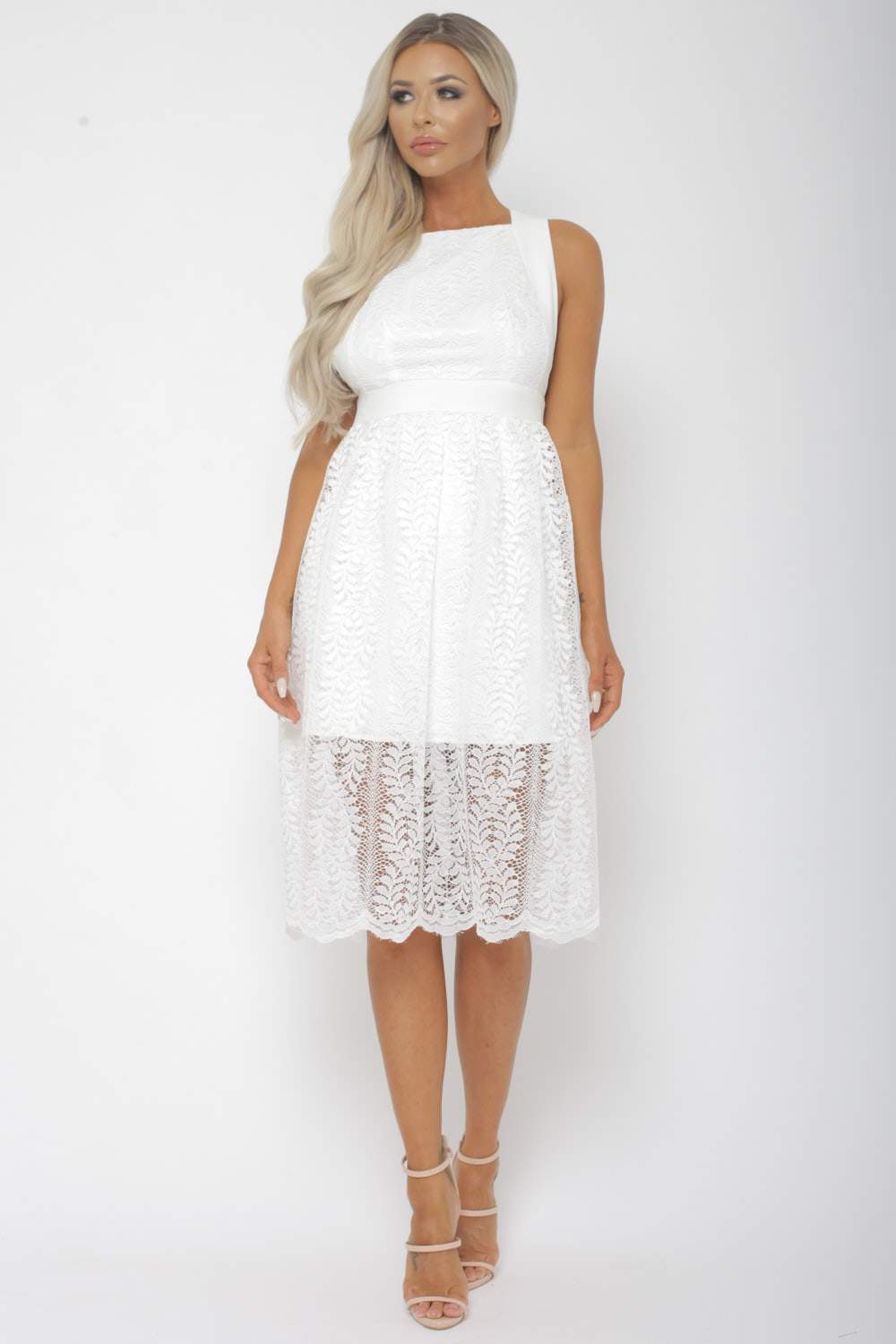 96b803ccc1 Winnie Lace Midi Dress in White