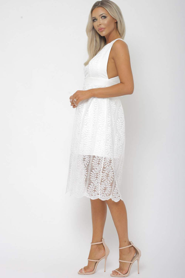 Winnie Lace Midi Dress in White