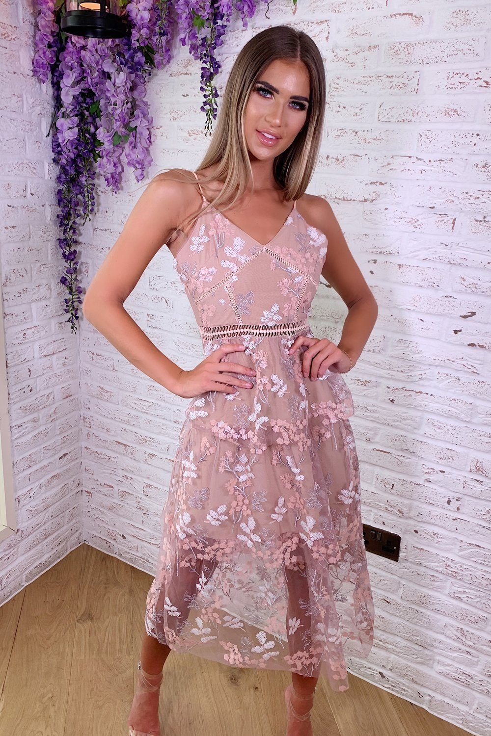 6c13aebe230 Zoey Lace Floral Dress in Blush
