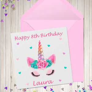 Unicorn Birthday Card Personalised Greetings Party Cards For Her Kids