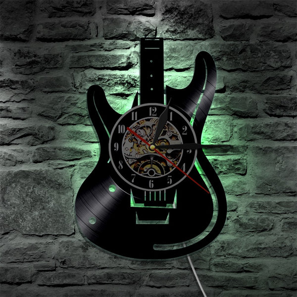 Vinyl guitar wall clock gren
