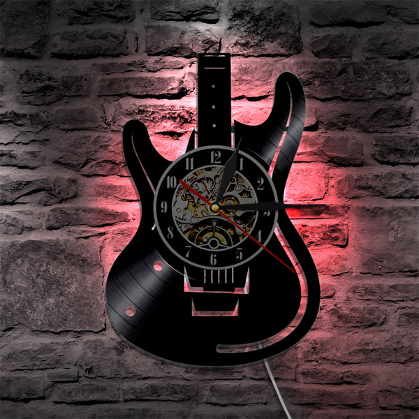 guitar wall clock red led