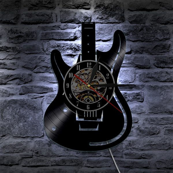 guitar wall clock blue led