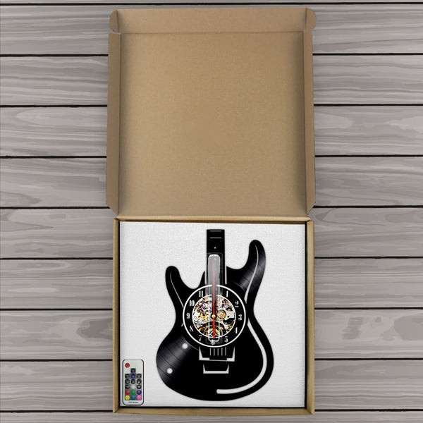Vinyl guitar wall clock box