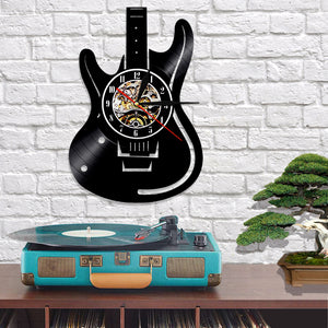 Vinyl guitar wall clock