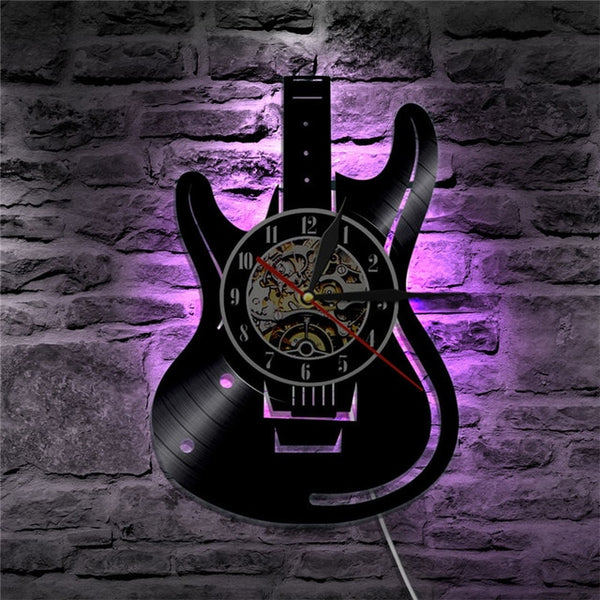 Vinyl guitar wall clock purple