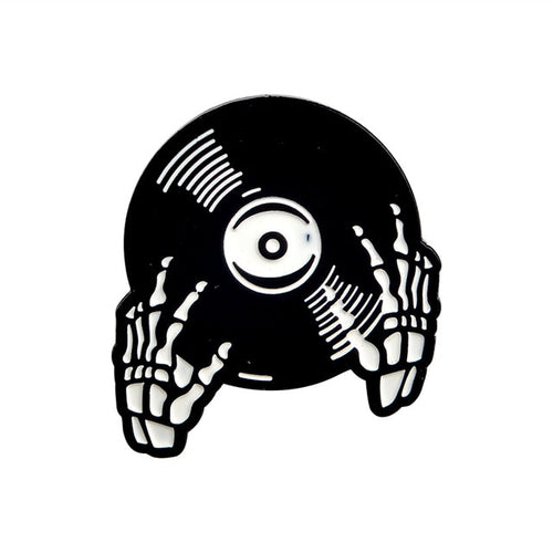 Skeleton Vinyl Record Enamel Pin