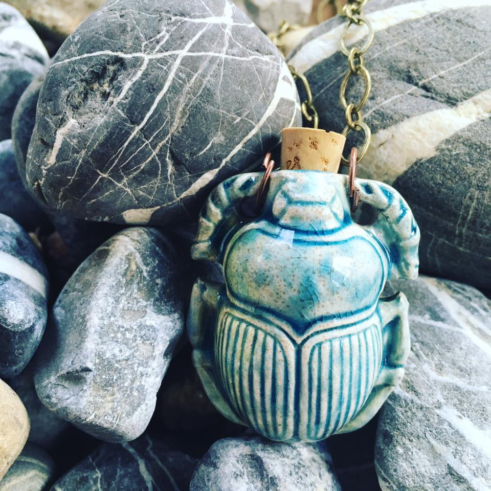 """Lightning in a Bottle"" Bottle Necklace - Scarab"