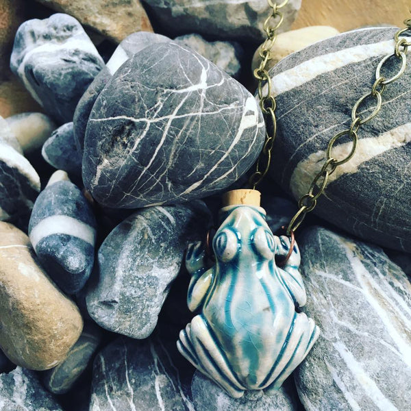 """Lightning in a Bottle"" Bottle Necklace - Frog"