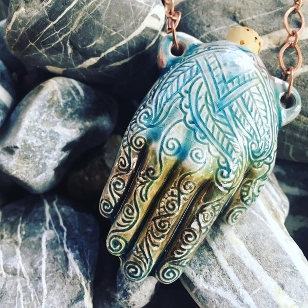 """Lightning in a Bottle"" Bottle Necklace - Henna Hand"