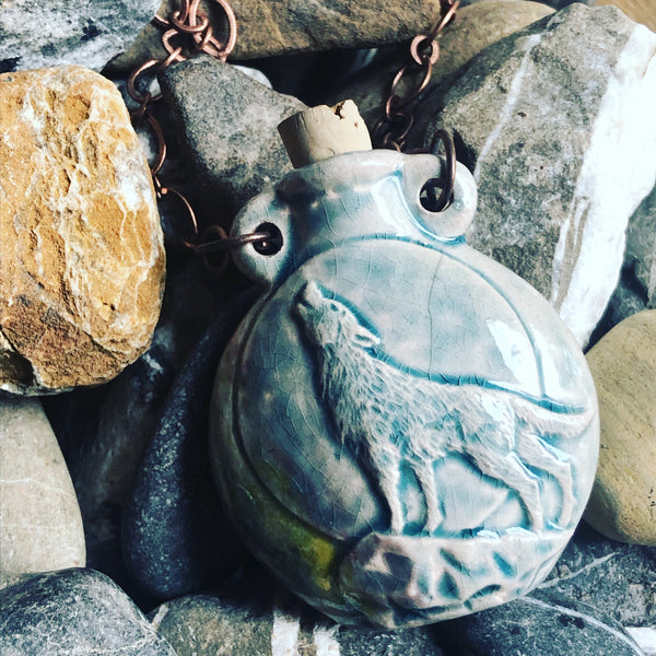 """Lightning in a Bottle"" Bottle Necklace - Howling Wolf"