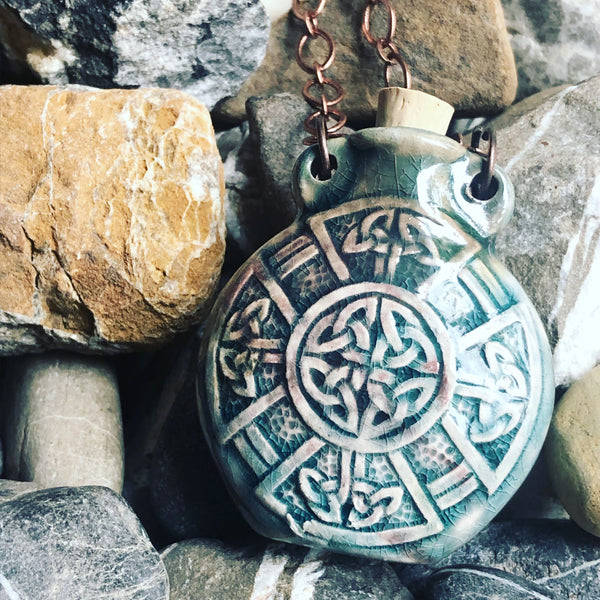 """Lightning in a Bottle"" Bottle Necklace - Celtic Shield"