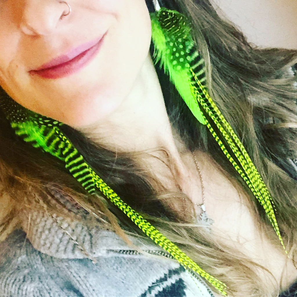 Neon Yellow & Green Earrings