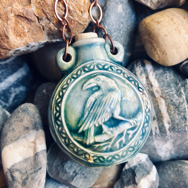 """Lightning in a Bottle"" Bottle Necklace - Raven"
