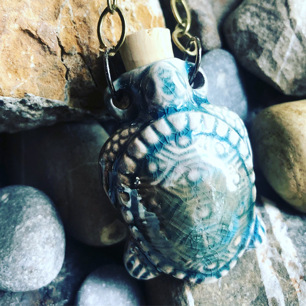 """Lightning in a Bottle"" Bottle Necklace - Turtle"