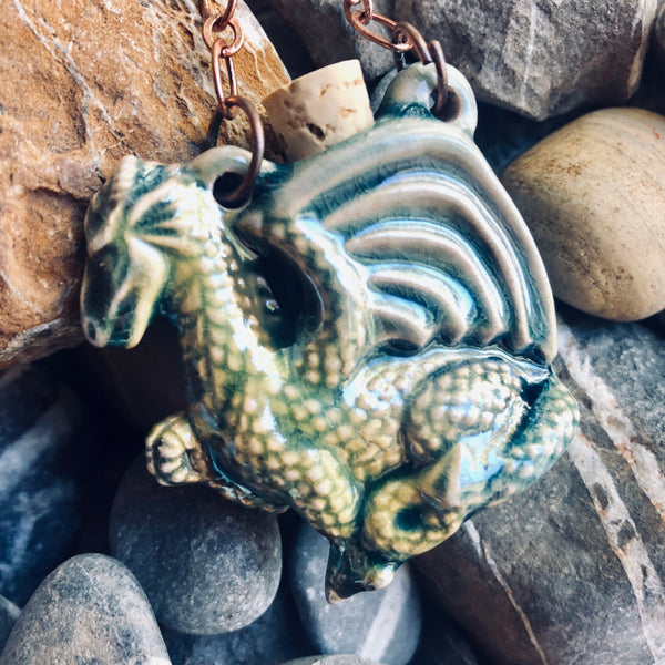 """Lightning in a Bottle"" Bottle Necklace - Dragon"