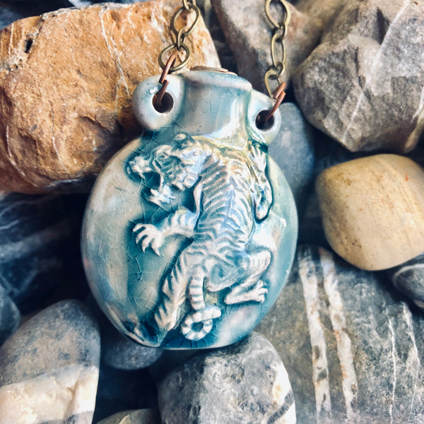 """Lightning in a Bottle"" Bottle Necklace - Tiger"