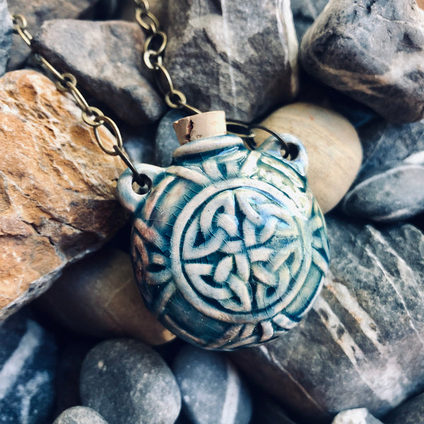 """Lightning in a Bottle"" Bottle Necklace - Celtic Knot"