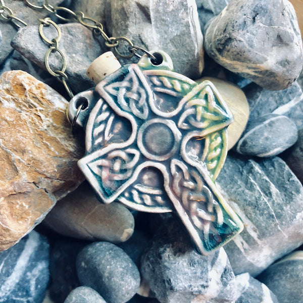 """Lightning in a Bottle"" Bottle Necklace - Celtic Cross"