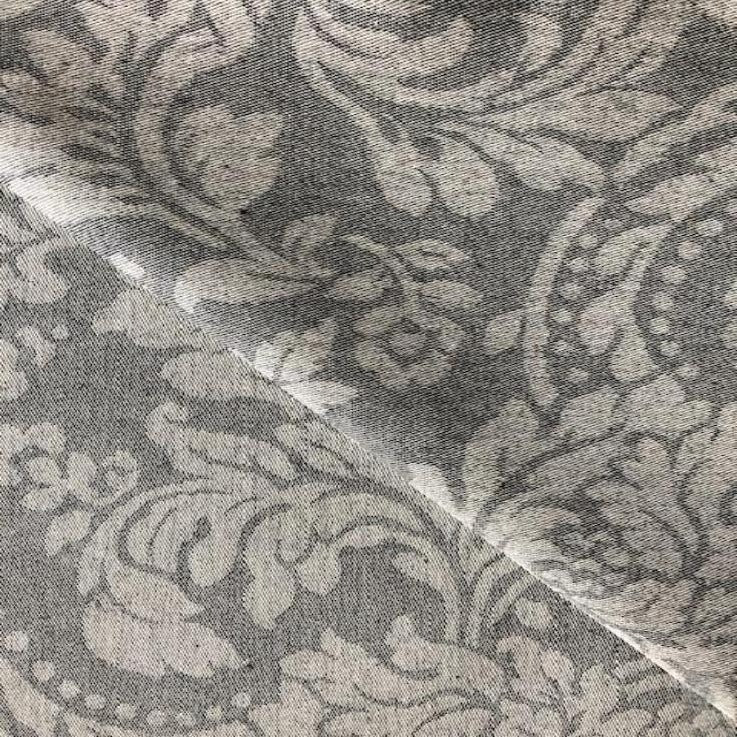 Damask Charcoal 140cm Wipe clean Acrylic Tablecloth