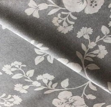 Grey Flowers Extra Wide 180cm Wipe clean Acrylic Tablecloth