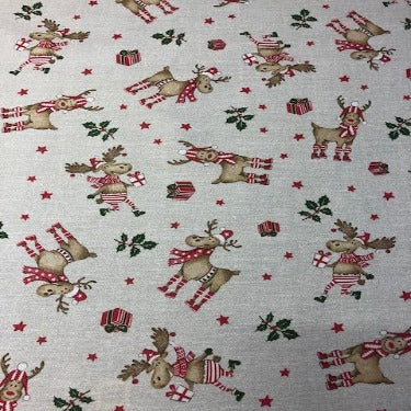 Christmas Reindeer 140cm Wipe Clean Acrylic Tablecloth